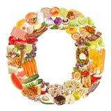 Letra O feita do alimento imagem de stock