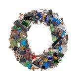 Letra O hecha de componentes electrónicos fotografía de archivo libre de regalías