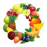 Letra O integrado por diversas frutas con las hojas stock de ilustración