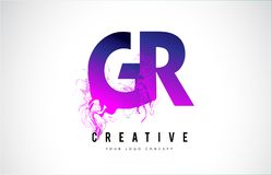 Letra púrpura Logo Design de GR G R con fluir líquido del efecto Fotos de archivo libres de regalías