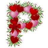 Letra P - Carta de la tarjeta del día de San Valentín stock de ilustración