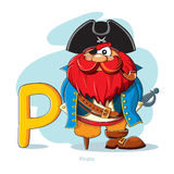 Letra P com pirata engraçado Imagens de Stock