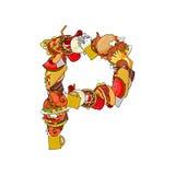 Letra P comestible Muestra del alfabeto de la comida EL de la plantilla del concepto de la alimentación Imagen de archivo