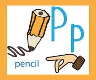 letra p de la historieta alfabeto inglés creativo Concepto de ABC Lenguaje de signos y alfabeto foto de archivo libre de regalías