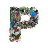 Letra P hecha de componentes electrónicos imágenes de archivo libres de regalías