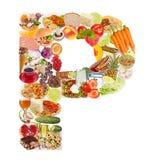 Letra P hecha de la comida fotografía de archivo libre de regalías