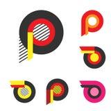 Letra P o rueda con el logotipo del fuego Minimalismo Art Style Logotype Imágenes de archivo libres de regalías