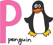 Letra P - pinguim Imagens de Stock Royalty Free
