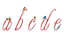 Letra pequena com borboletas 1 Imagem de Stock
