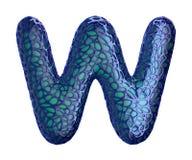 Letra plástica azul W con los agujeros abstractos 3d Imágenes de archivo libres de regalías