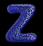 Letra plástica azul Z com furos abstratos 3d Fotografia de Stock Royalty Free