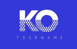 Letra punteada O Logo Design del knock-out K con el fondo azul libre illustration
