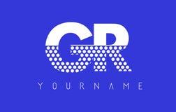 Letra punteada R Logo Design de GR G con el fondo azul Foto de archivo