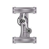 Letra Q com engrenagens Metal e inclinação ilustração royalty free