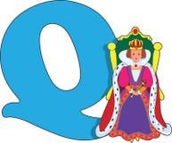Letra Q con una reina Imagen de archivo libre de regalías
