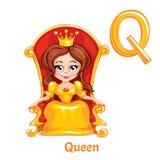 Letra Q do alfabeto do vetor rainha Imagens de Stock Royalty Free