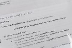 Letra que explica voto postal del matrimonio homosexual australiano Imágenes de archivo libres de regalías