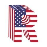 Letra R de alfabeto latino de la bandera 3d de los E.E.U.U. Fuente texturizada Fotografía de archivo libre de regalías