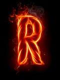 Letra R del fuego Fotos de archivo libres de regalías