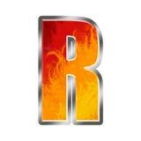 Letra R do alfabeto das flamas Fotos de Stock Royalty Free