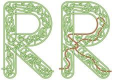 Letra R do labirinto Imagens de Stock Royalty Free