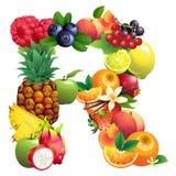 Letra R integrado por diversas frutas con las hojas stock de ilustración