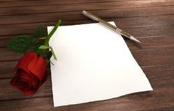 A letra romântica com aumentou, corações vermelhos na tabela de madeira Fotografia de Stock