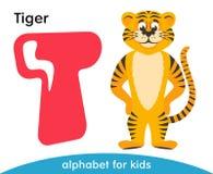 Letra rosada T y tigre amarillo ilustración del vector