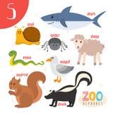 Letra S Animales lindos Animales divertidos de la historieta en vector Abucheo de ABC Foto de archivo libre de regalías