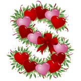 Letra S - Carta de la tarjeta del día de San Valentín ilustración del vector