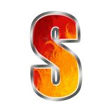 Letra S do alfabeto das flamas Imagens de Stock Royalty Free
