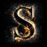 Letra S do incêndio imagem de stock