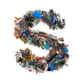 Letra S feita de componentes eletrônicos fotografia de stock royalty free