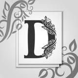 Letra superior D con el contorno floral elegante para el logotipo de las iniciales Letra de lujo D de la tarjeta Plantilla univer stock de ilustración