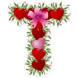Letra T - Carta de la tarjeta del día de San Valentín ilustración del vector