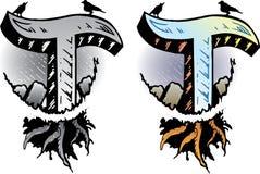 Letra T do estilo do tatuagem Fotografia de Stock
