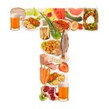 Letra T feita do alimento imagem de stock