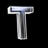 Letra T no vidro 3D Imagens de Stock Royalty Free