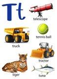 Letra T para el telescopio, el camión, la pelota de tenis, el tractor, el tigre y t Fotografía de archivo libre de regalías