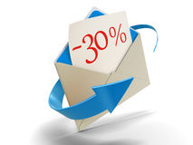 Letra -30% (trajeto de grampeamento incluído) Fotografia de Stock