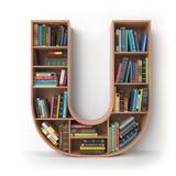 Letra U Alfabeto sob a forma das prateleiras com os livros isolados sobre Imagem de Stock Royalty Free