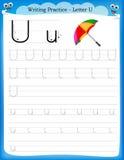Letra U da prática da escrita Fotos de Stock