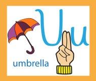 letra u dos desenhos animados alfabeto inglês creativo Conceito de ABC Linguagem gestual e alfabeto Imagens de Stock Royalty Free