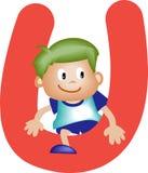 Letra U (muchacho) del alfabeto ilustración del vector