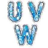 Letra U V W da gema Imagem de Stock Royalty Free