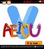 Letra v com ilustração dos desenhos animados das vogais Imagens de Stock Royalty Free