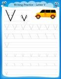 Letra V da prática da escrita Fotografia de Stock