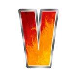 Letra V do alfabeto das flamas Imagens de Stock