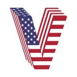 Letra V do alfabeto latin da bandeira 3d dos EUA Fonte Textured Imagens de Stock