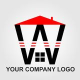 Letra vermelha e preta W da cenografia do vetor do logotipo da casa e da empresa imagem de stock